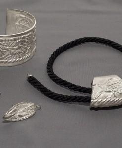 parure in argento motivo pavone