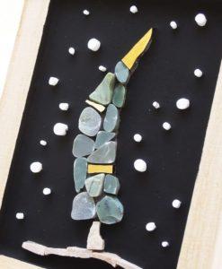 quadretto mosaico con albero di Natale