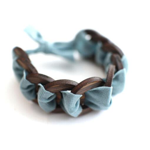 braccialetto legno e stoffa verde