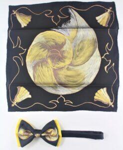 fazzoletto e papillon seta dipinti a mano